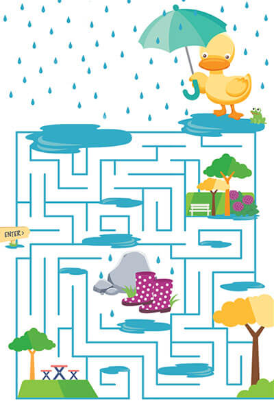 Help Dizzy Duck find his way through the maze without getting his feet wet