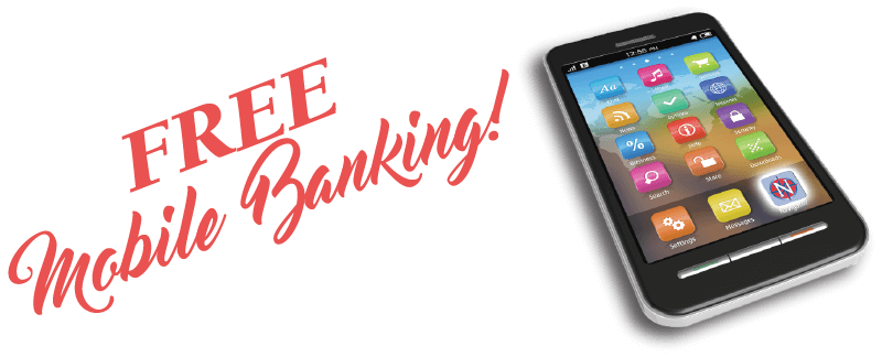 Free Mobile Banking text with picture of phone