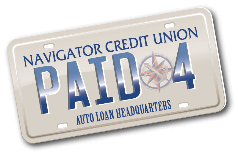 License tag that says Paid 4 Navigator Credit Union