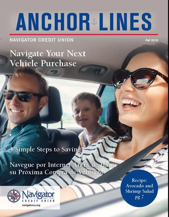 Anchor Lines Fall 2018 cover, including auto loans advice and steps to saving