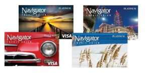 Platinum Rewards Card designs in bridge, downtown mobile, red cruiser and sea oats