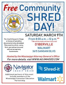 Free shred day set for March 9, 2019 at Walmart in D'Iberville, Miss