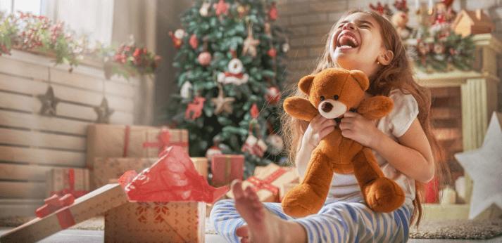 2020 Christmas Loan Photo girl holding a teddy bear